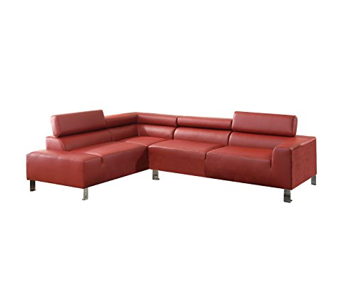 Modern Red Leather Sectional Sofa by Poundex