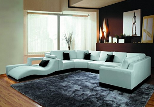 Contemporary White Leather Sectional Sofa By VIG Furniture