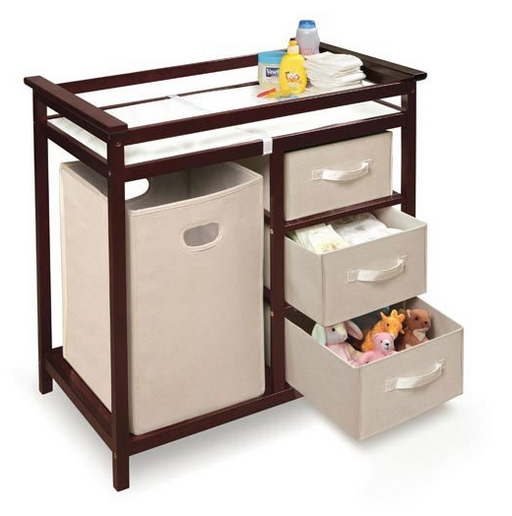 Modern Baby Changing Table by Badger Basket - Espresso Wood