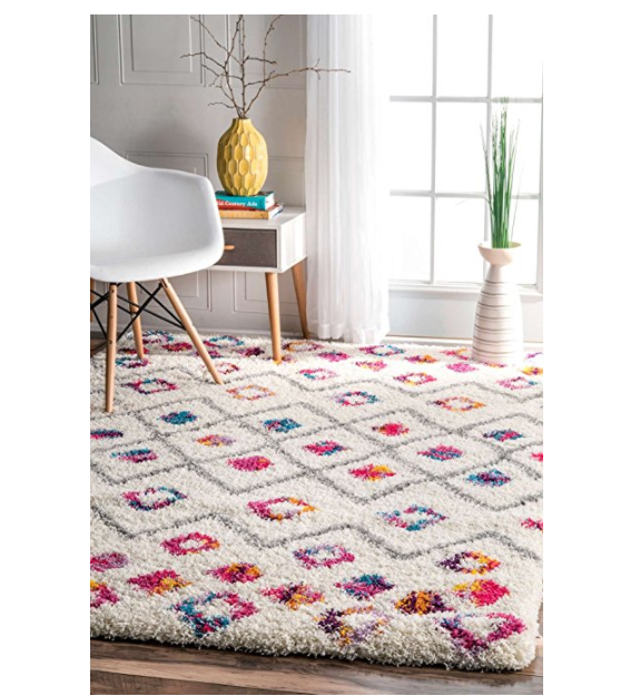 Colorful Diamond Trellis Shag Rug by Rugs USA - Bohemian