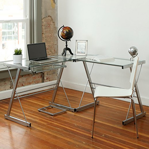 Ultra Modern L-Shaped Glass Desk by Walker Edison Furniture Company