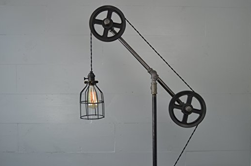 Steampunk Floor Lamp with Steel Wheels by West Ninth Vintage