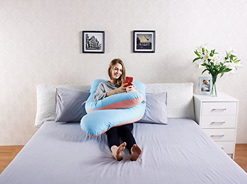 Full Body U-Shaped Pink & Blue Pregnancy Pillow by Queen Rose