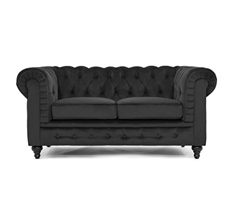 Black Gothic Love Seat by Divano Roma Furniture