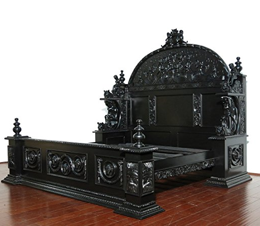 Black Mahogany Gothic King Size Bed By Mbw Furniture
