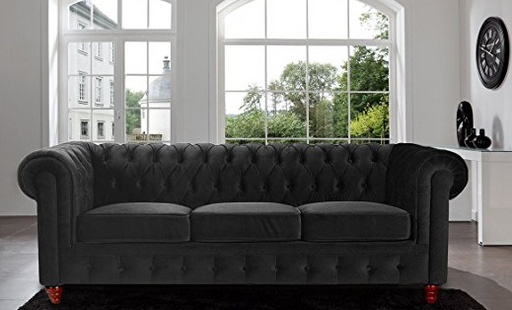 Black Gothic Tufted Sofa by Divano Roma Furniture