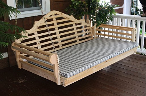 Cedar Stain Wooden Swing Bed and Pergola by Furniture Barn USA - Amish-Made