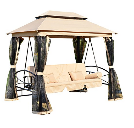 3 Person Gazebo Bed Swing by Outsunny - Tan with Mesh Walls
