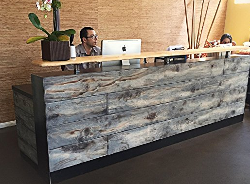 Modern Reclaimed Wood Reception Desk by Reception Counter Solutions