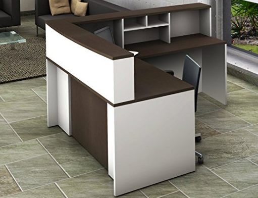 4 Piece Contemporary Reception Desk by OfisLite - White/Espresso