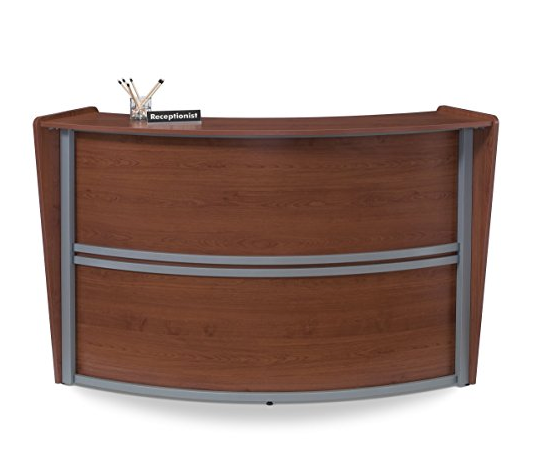 Contemporary Cherry Wood Reception Desk By Ofm Furnsy