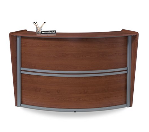 Contemporary Cherry Wood Reception Desk by OFM