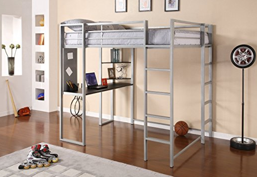 Metal Full Size Loft Bed with Ladder by Dorel Home - Silver