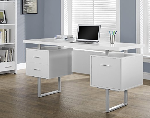 Modern Office Desk by Monarch Specialties - White and Chrome