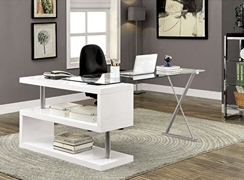 Ultra Modern White Swivel Office Desk by Furniture of America