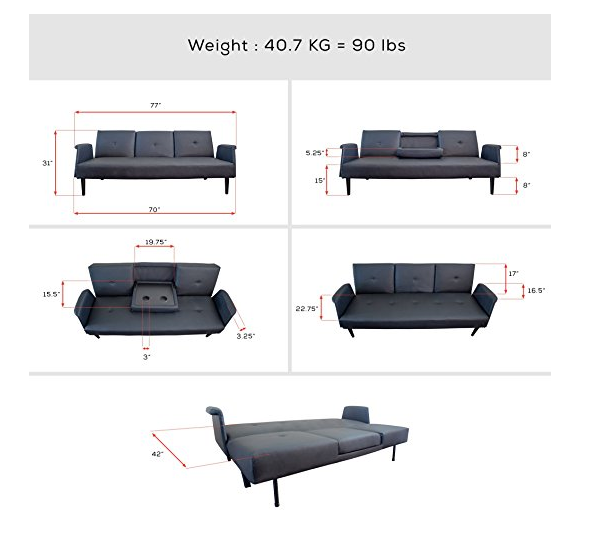 Black Leather Modern Sofa Bed By Comfify Cup Holders