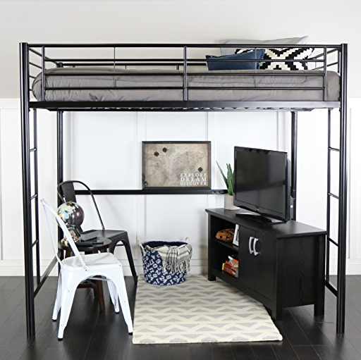 Gunmetal Black Full Size Loft Bed with Two Ladders by WE Furniture