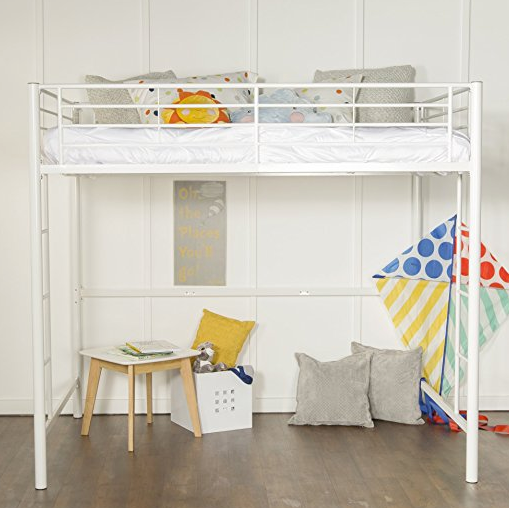 White Metal Full Size Loft Bed by Home Accent Furnishings