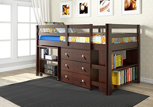 Elegant Wooden Full Size Loft Bed for Kids by Donco - Dark Cappuccino
