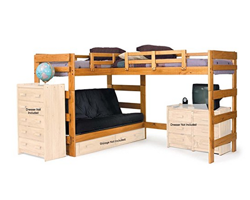 Cabin Full Size Loft Bed with Futon Bed and Storage by Chelsea Home Furniture