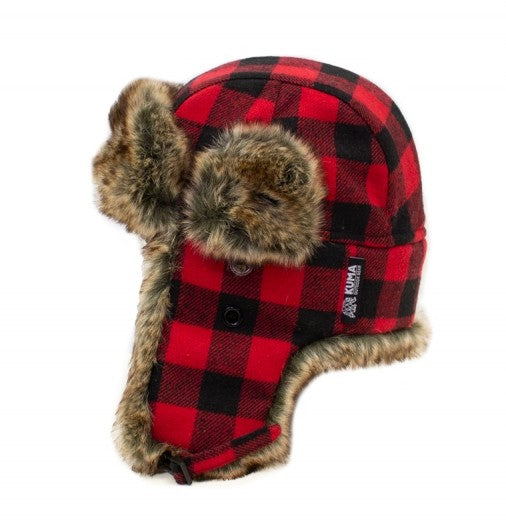 WHITERIDGE FUR TRAPPER PLAID TOQUE