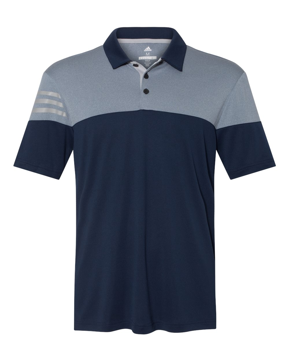 ADIDAS MEN'S HEATHERED 3 STRIPES POLO