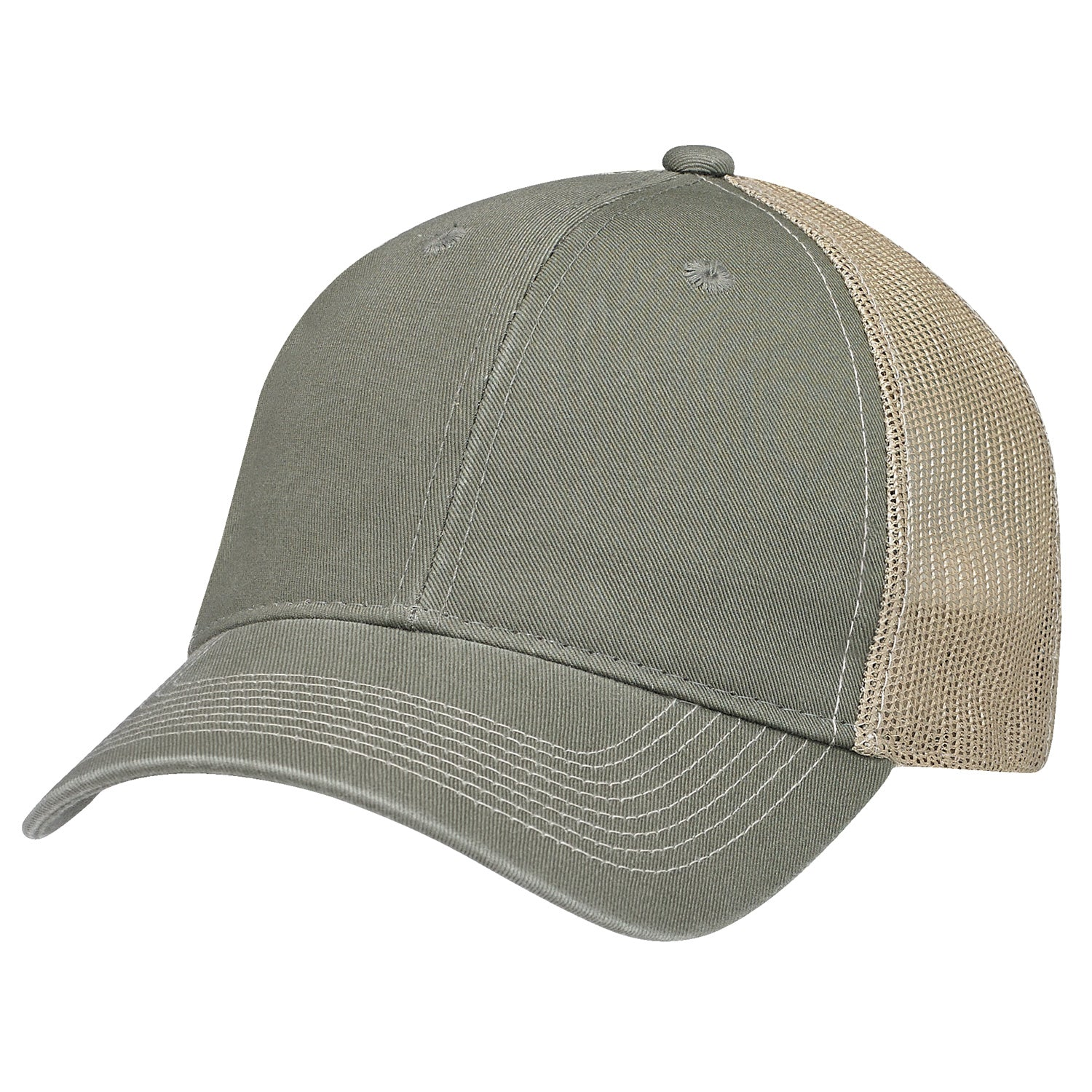 AJM ENZYME WASHED DELUXE CHINO TWILL/SOFT NYLON MESH HAT