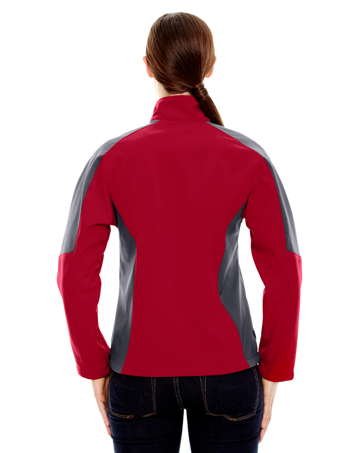 NORTH END LADIES COMPASS COLOR BLOCK THREE LAYER FLEECE BONDED SOFT SHELL JACKET