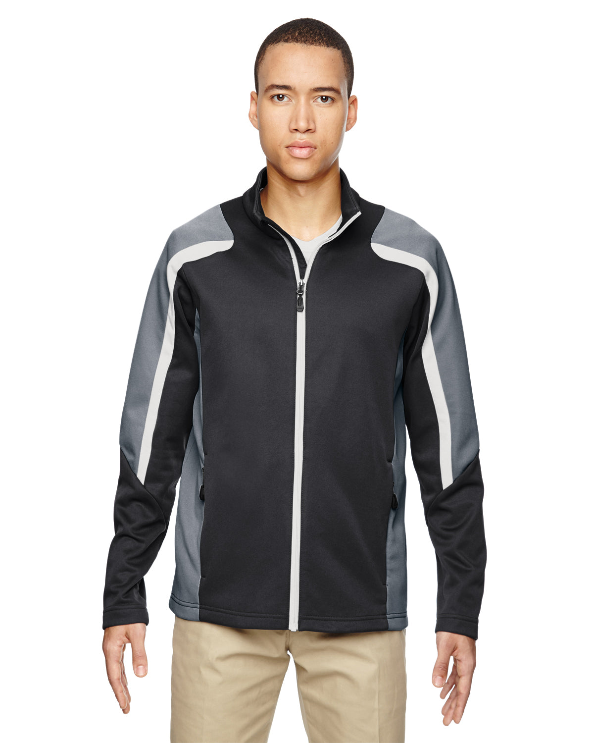 NORTH END MEN'S STRIKE COLOR BLOCK FLEECE JACKET