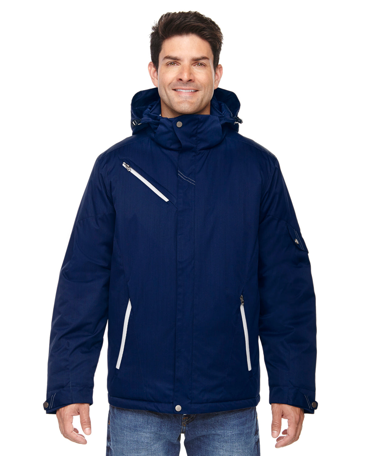 NORTH END MEN'S RIVET TEXTURED TWILL INSULATED JACKET
