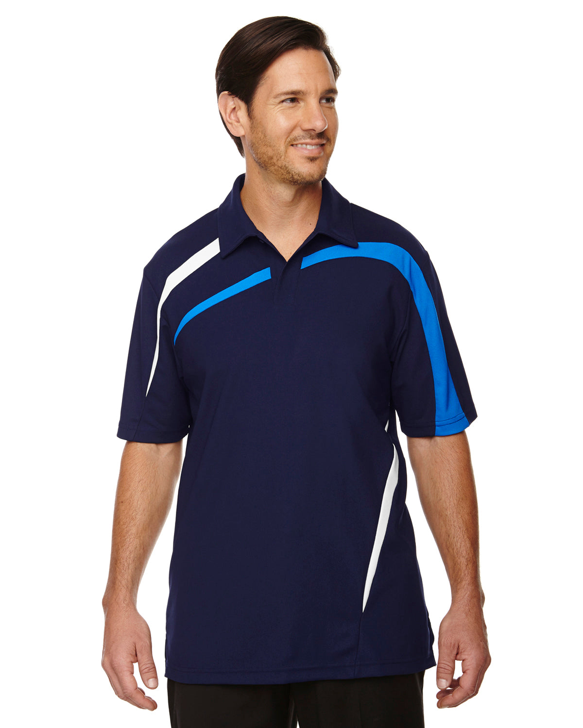 NORTH END MEN'S IMPACT PERFORMANCE POLYESTER PIQUE COLOR BLOCK POLO