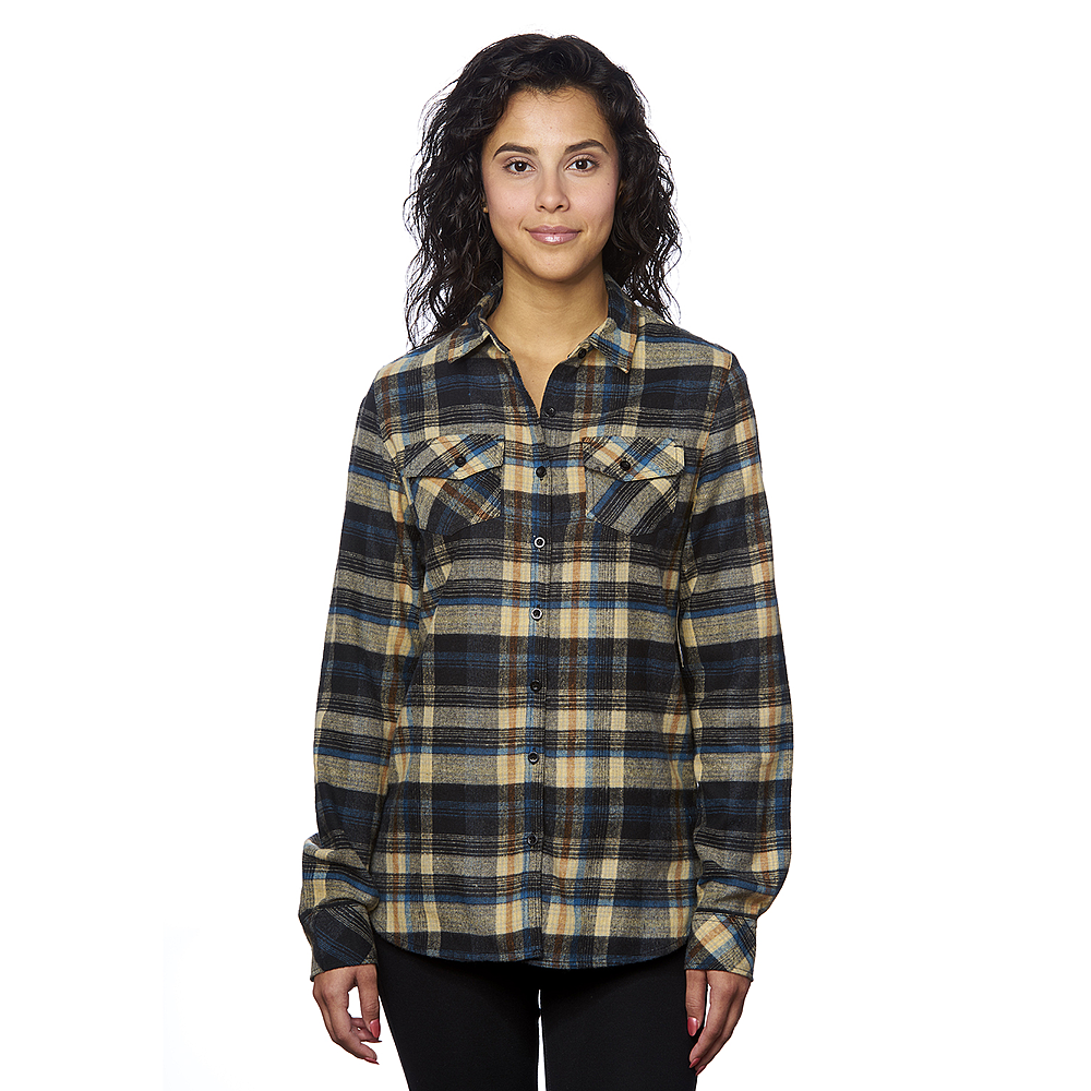 BURNSIDE LADIES WOVEN PLAID FLANNEL DRESS SHIRT