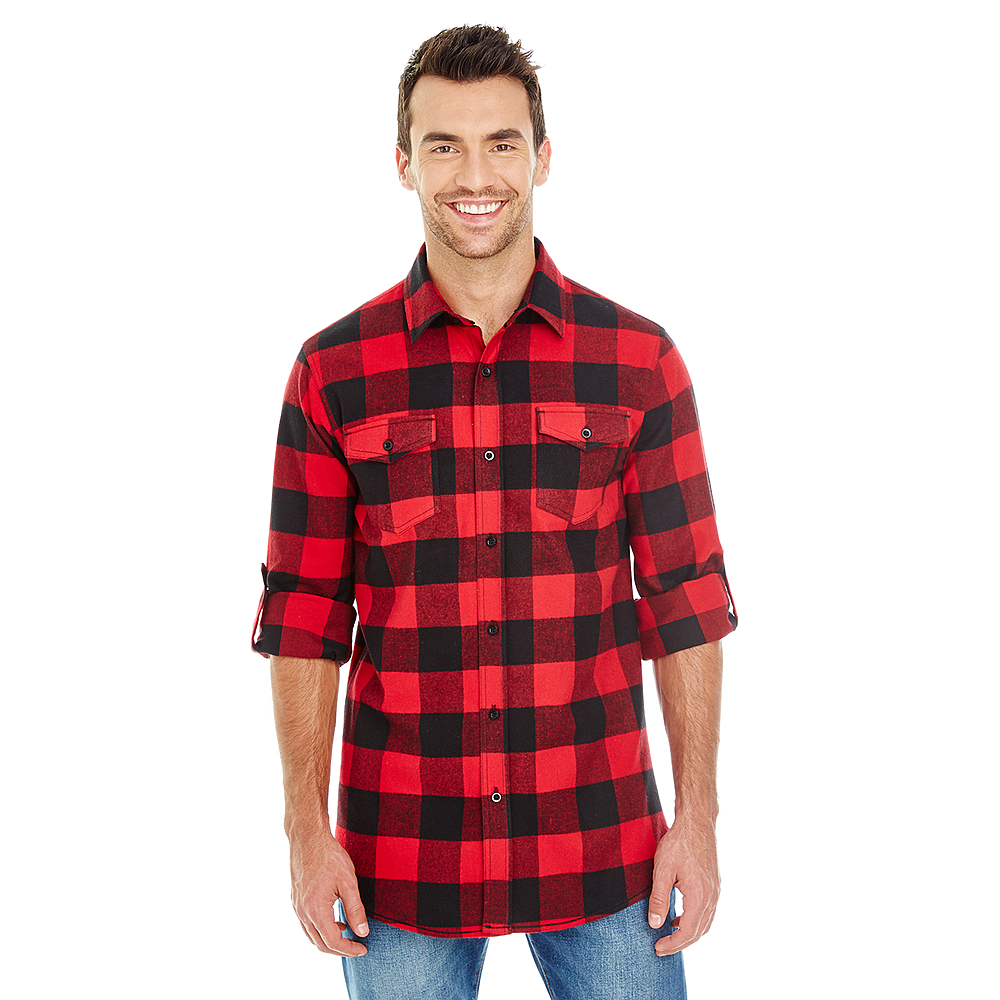 BURNSIDE MEN'S WOVEN PLAID FLANNEL DRESS SHIRT