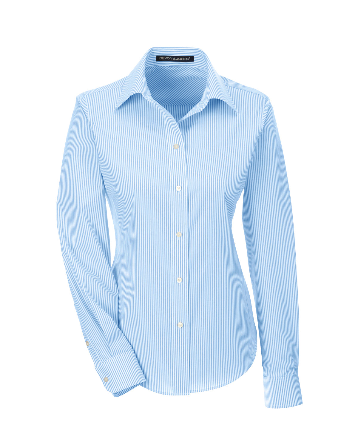 DEVON & JONES LADIES CROWN WOVEN BANKER STRIPE DRESS SHIRT
