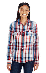 BURNSIDE LADIES LONG SLEEVE PLAID DRESS SHIRT