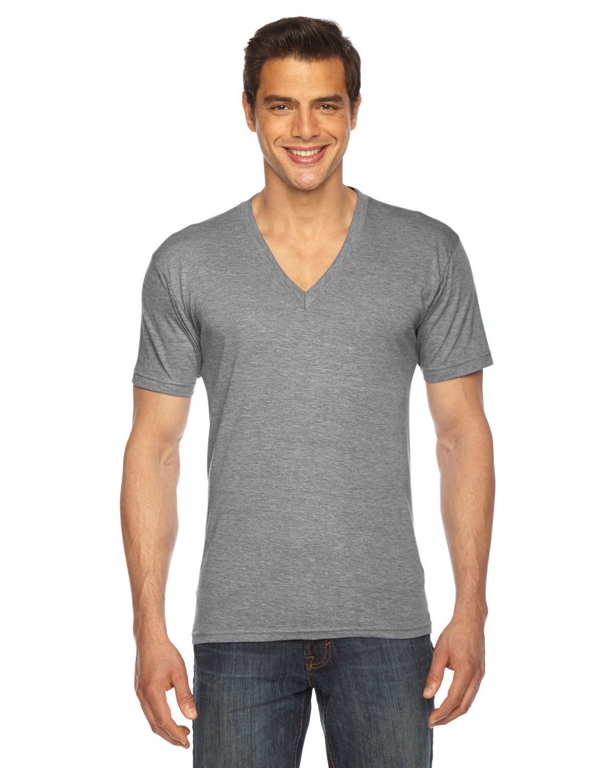 AMERICAN APPAREL UNISEX TRI-BLEND SHORT SLEEVE V NECK T-SHIRT
