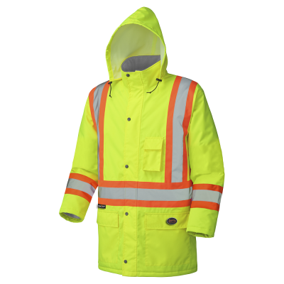 PIONEER HI-VIZ WATERPROOF WINTER QUILTED SAFETY PARKAS - 300D PU COATED OXFORD POLY