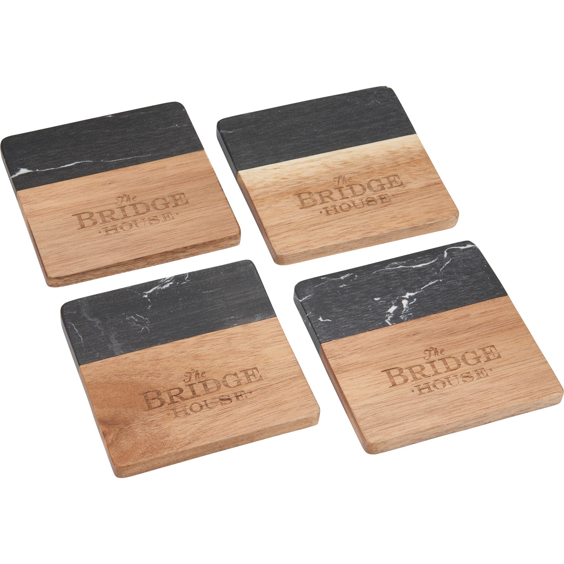 LEEDS BLACK MARBLE AND WOOD COASTER SET