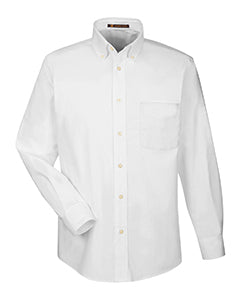 HARRITON MEN'S LONG SLEEVE OXFORD DRESS SHIRT WITH STAIN RELEASE