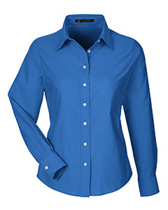 HARRITON LADIES LONG SLEEVE OXFORD DRESS SHIRT WITH STAIN RELEASE
