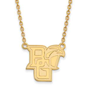 Bowling Green State University BG Falcon Gold Necklace