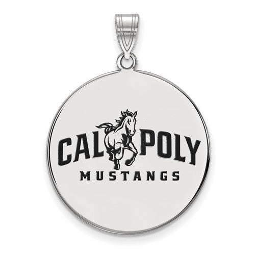 Cal Poly Mustangs Silver with Enamel Pendant