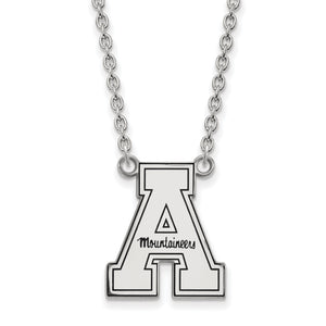 App State Mountaineers Silver Necklace with Enamel