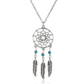 Women Dream Catcher Feather Pendant Necklace