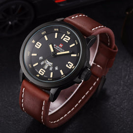 Men Leather Strap Military Waterproof Wrist Watch