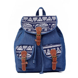 New Canvas Casual Elephant Print Backpacks For Girls