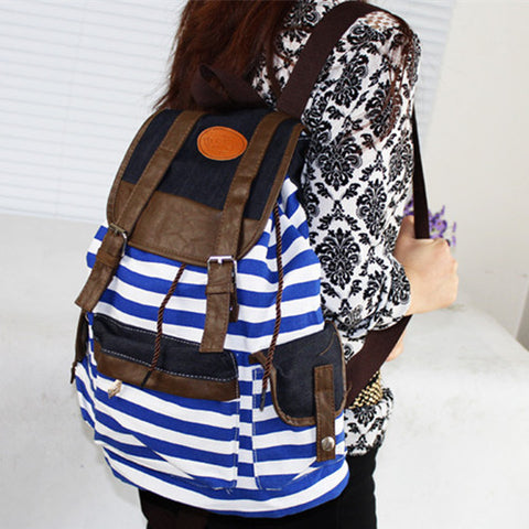 Women Striped Canvas Backpack Leisure School Rucksack