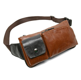 Crazy Horse Style PU Leather Men Chest Bag