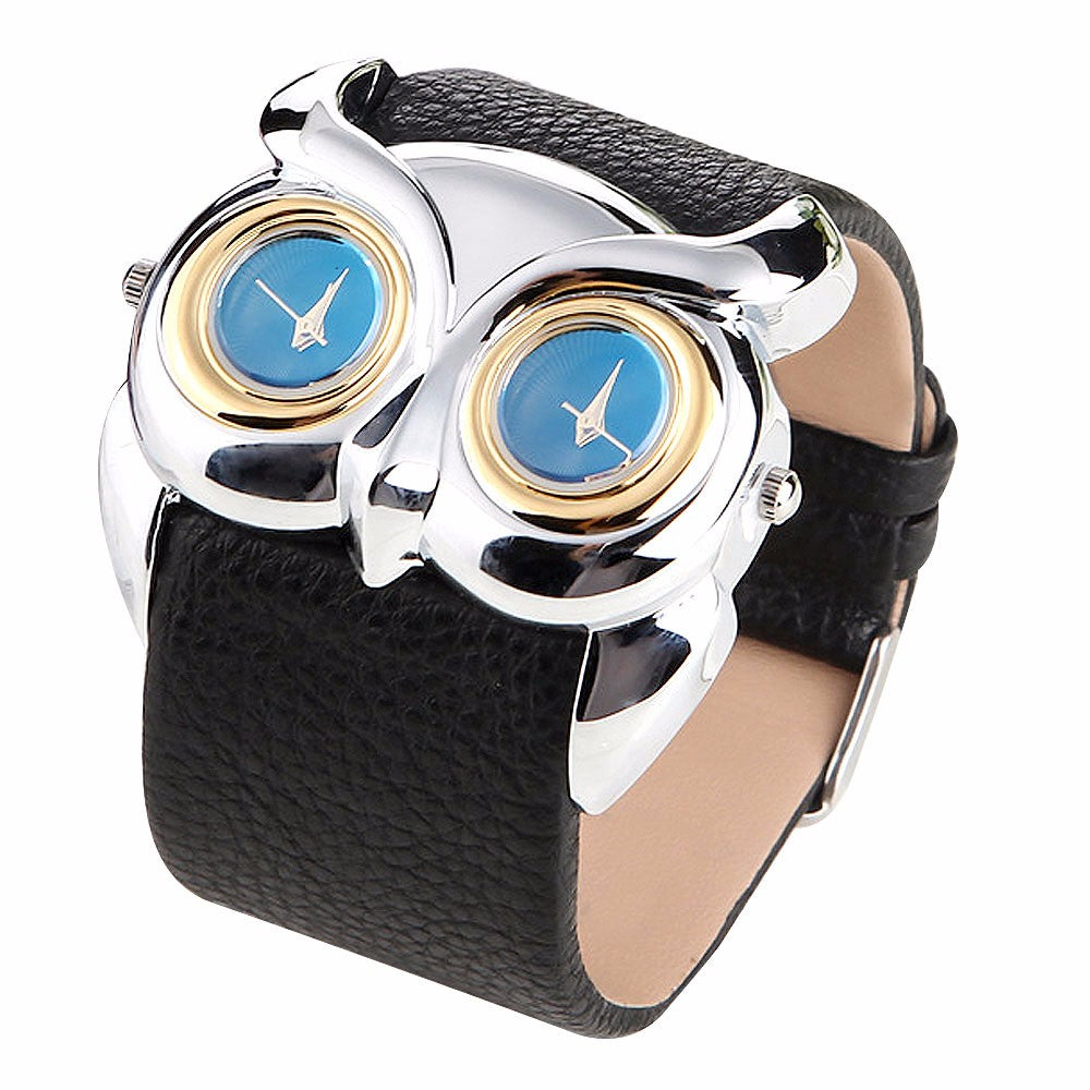 Owl Dual Dial Faux Leather Casual Women Watch