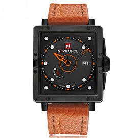 Men Casual Quartz Dive Leather Sport Wristwatch